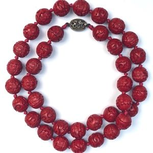Antique Hand-Carved Cinnabar Red Bead Necklace